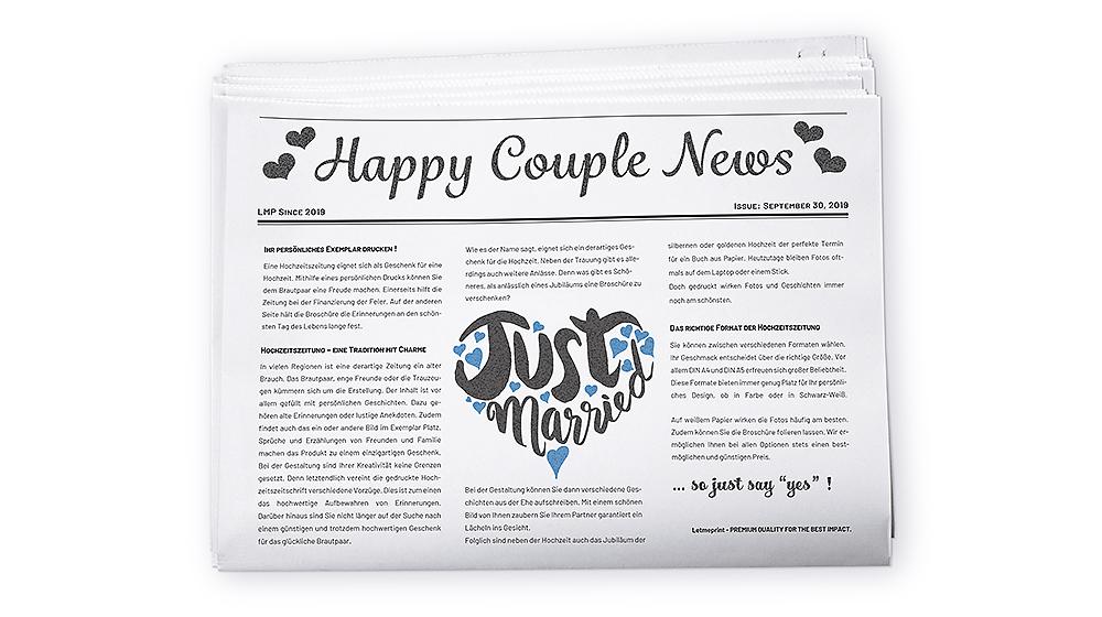 Hochzeitszeitung drucken Ihr persönliches Exemplar in hoher Qualität