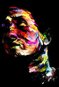Rich Color Paint series. Abstract portrait on the subject of art, energy, creativity and emotion.
