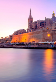 Valletta Skyline with churche of Our Lady of Mount Carmel and St. Paul's Anglican Pro-Cathedral, at dawn, Valletta, Capital city of Malta