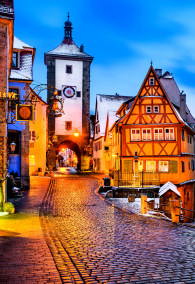 Medieval town of Rothenburg ob der Tauber at night, Germany