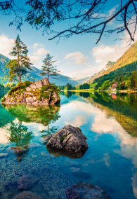 Picturesque summer scene of Hintersee lake. Colorful morning view of Austrian Alps, Salzburg-Umgebung district, Austria, Europe. Beauty of nature concept background.