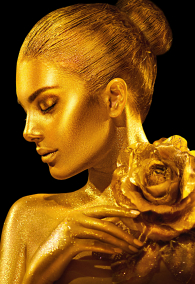 Fashion art Golden skin Woman with rose portrait. Model girl with holiday golden Glamour shiny professional makeup. Gold jewellery, jewelry, accessories. Beauty gold metallic body, Lips and Skin