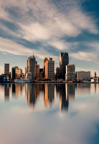 The skyline of Detroit viewed from ontario