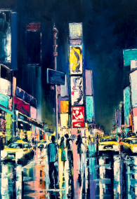 """New York""Original oil painting, a night view of New York, Times Square."