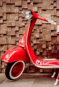 Red vintage motorcycle - vintage filter