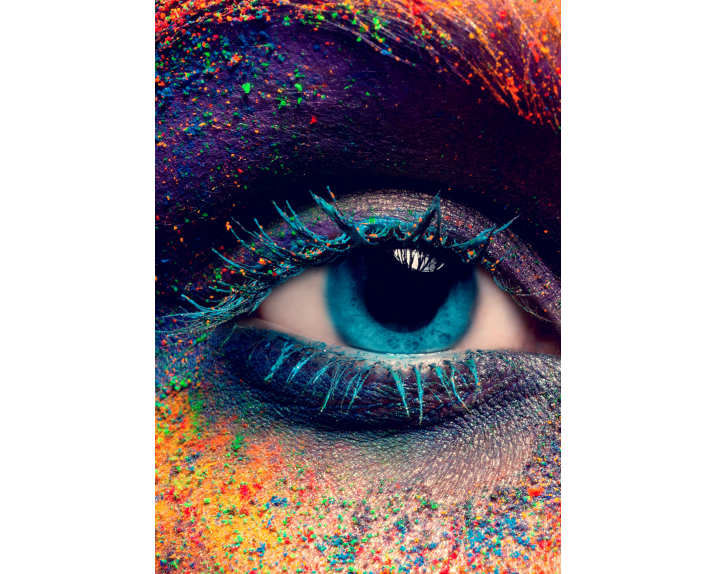 Crop of female eye with colorful make up. Beautiful fashion mo / Kunst