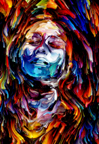Rich Color Paint series. Emotional portrait on the subject of art, energy, creativity and self-expression.